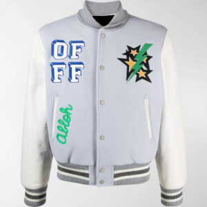 Grey White Embroidered Varsity Bomber Jacket