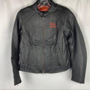 Harley Davidson Black Orange Logo Leather Jacket