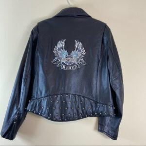 Harley Davidson Embroidered Black Leather Jacket