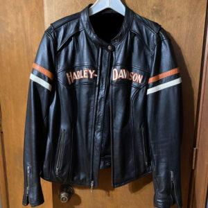 Harley Davidson Leather Black Orange Riding Jacket