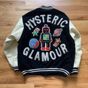 Hysteric Glamour Black Toy Robot Varsity Jacket