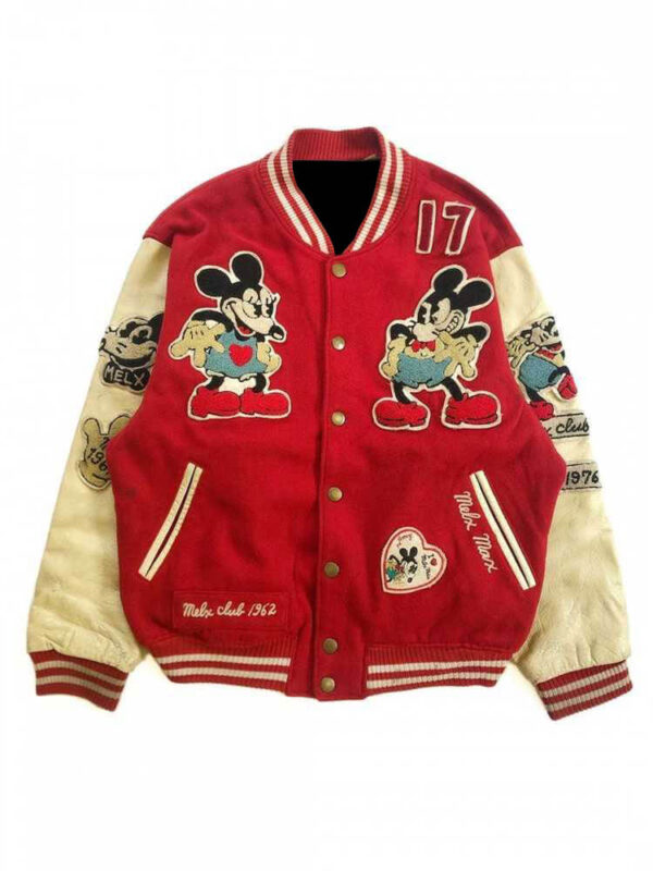Hysteric Glamour Mickey Mouse Red Varsity Jacket