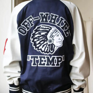 Navy and White Cotton Blend and Leather Varsity Jacket