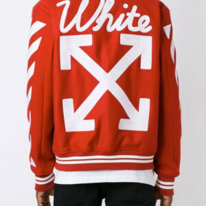 Red Wool White Logo Striped Sleeves Varsity Jacket