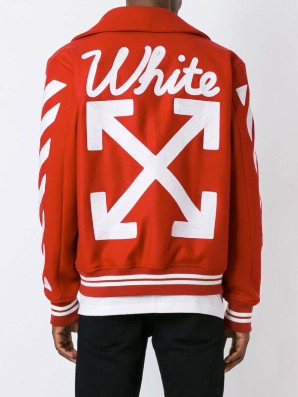 Red Wool White Logo Striped Sleeves Varsity Jacket