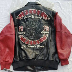 Black And Red Pelle Pelle Leather Jacket