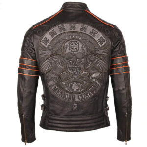 Black Embroidery Skull Motorcycle Leather Jacket