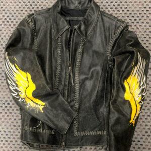 Black Harley Davidson Freedom Laced Up Leather Jacket
