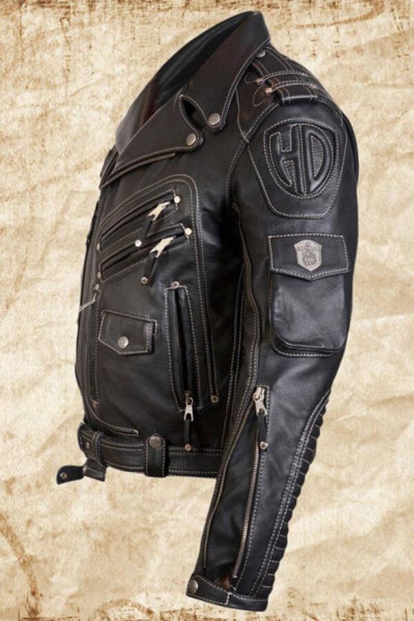 Black Harley Davidson Racing Biker Leather Jacket