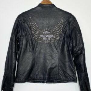 Black Harley Davidson Studded Wings Leather Jacket