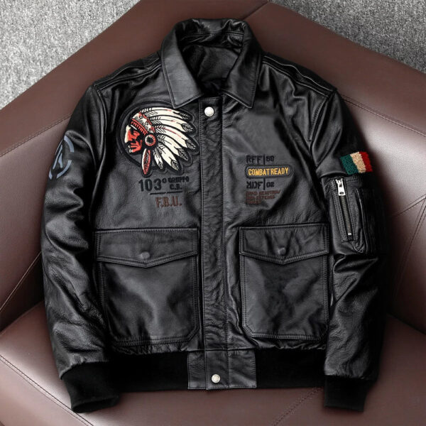 Black Indian Motorcycle Bomber Fighter Leather Jacket