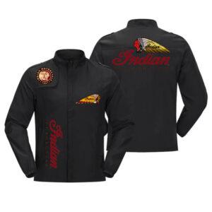 Black Indian Motorcycle Racing Baseball Casual Jacket
