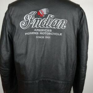 Black Indian Motorcycle Racing Leather Jacket