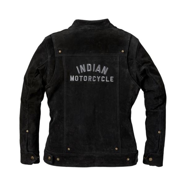 Black Indian Motorcycle Racing Suede Leather Jacket