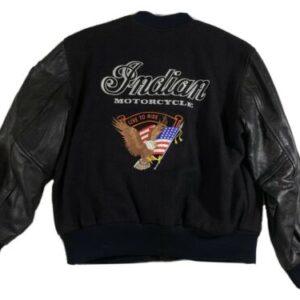 Black Indian Motorcycle Racing Varsity Jacket