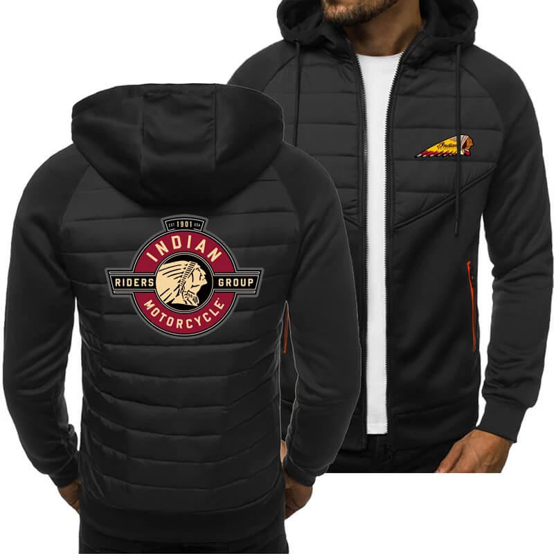 Black Indian Motorcycle Spring Autumn Casual Jacket