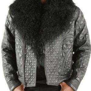 Black Pelle Pelle Quilted Fur Collar Biker Jacket