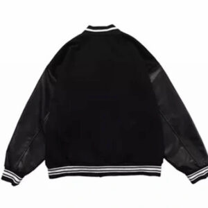 Black Skeleton Bone Patch Varsity Jacket