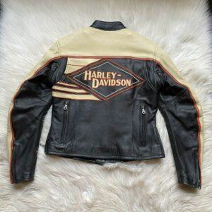 Black Yellow Harley Davidson Vintage Leather Jacket