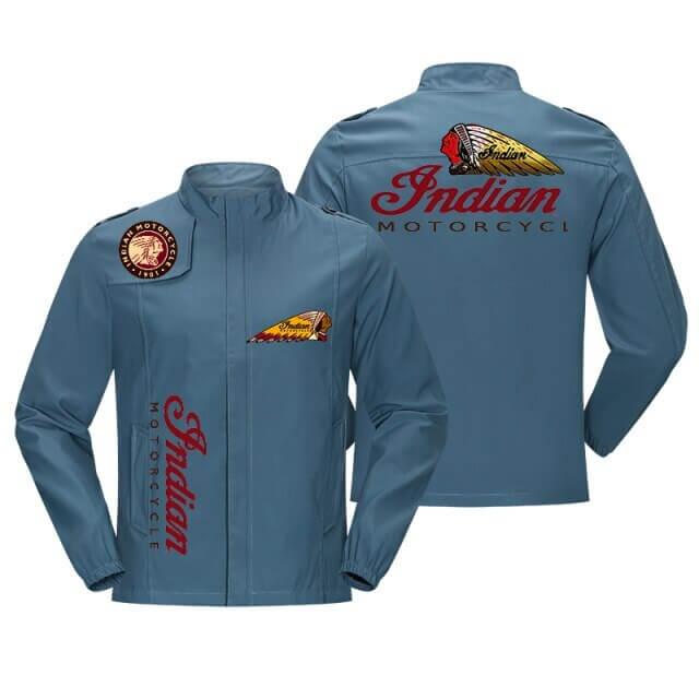Blue Indian Motorcycle Racing Baseball Casual Jacket