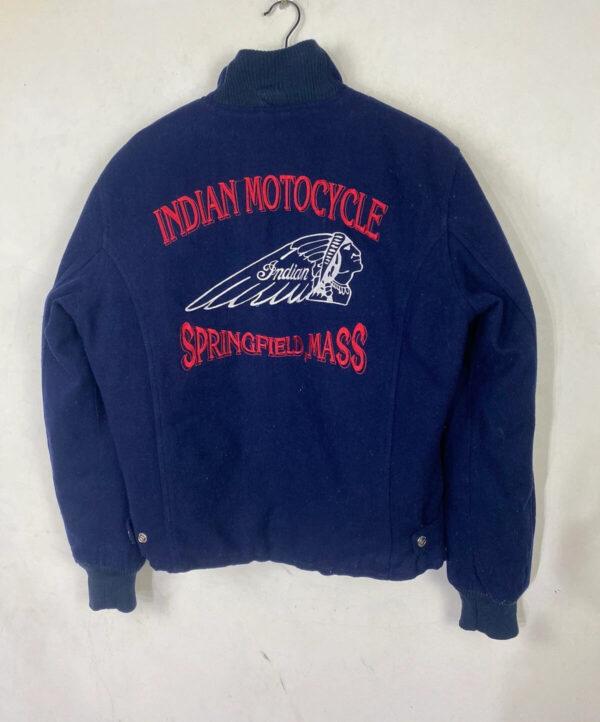 Blue Indian Motorcycle Racing Bomber Jacket