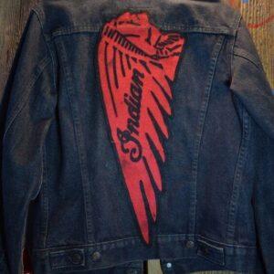 Blue Indian Motorcycle Racing Denim Jacket