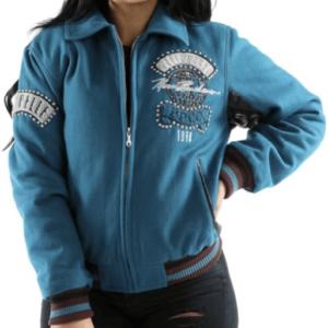 Blue Pelle Pelle World Tour Bomber Jacket