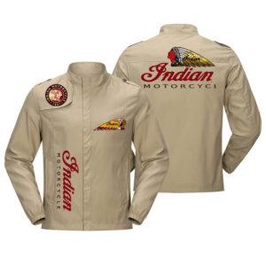 Brown Indian Motorcycle Racing Baseball Casual Jacket