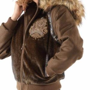 Brown Pelle Pelle Fur Hoody Jacket