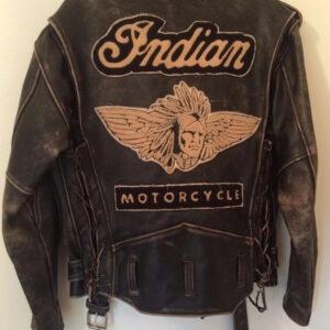 Brown Vintage Indian Motorcycle Racing Leather Jacket