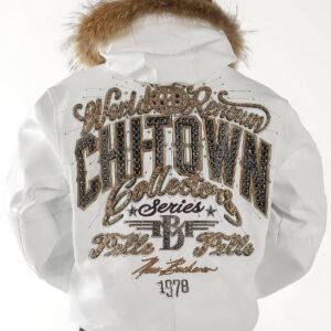 Chi Town Pelle Pelle White Fur Collar Leather Jacket