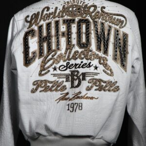Chi Town Pelle Pelle White Leather Jacket