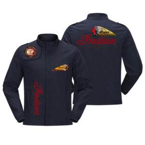 Dark Blue Indian Motorcycle Racing Baseball Casual Jacket