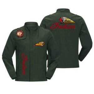 Green Indian Motorcycle Racing Baseball Casual Jacket