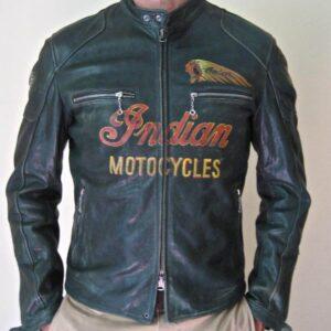 Green Indian Motorcycle Racing Leather Jacket