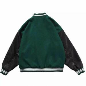 Green Skeleton Bone Patch Varsity Jacket