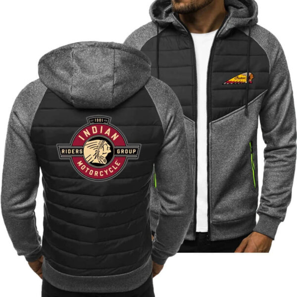 Grey Indian Motorcycle Print Spring Autumn Casual Jacket