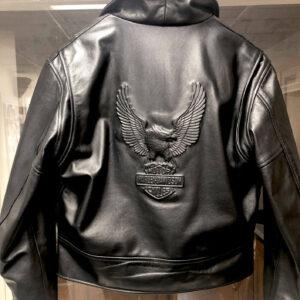 Harley Davidson Embossed Eagle Black Leather Jacket