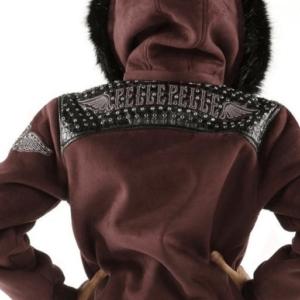 Maroon Pelle Pelle Airborne Shearling Hoodie Jacket