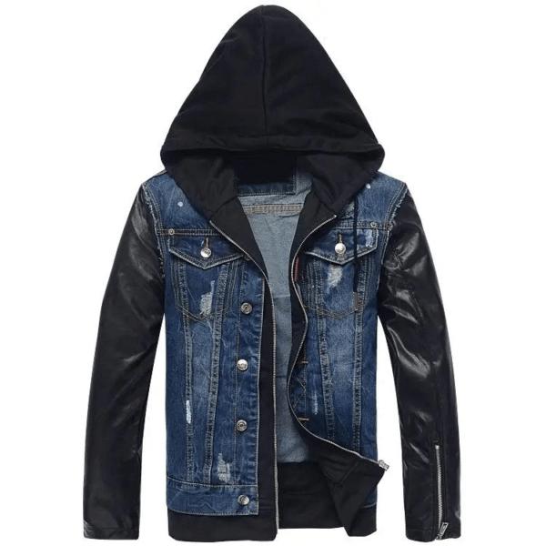 Men Hooded Leather Denim Jacket
