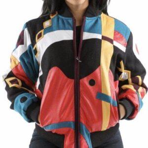 Multicolor Pelle Pelle Abstract Varsity Jacket