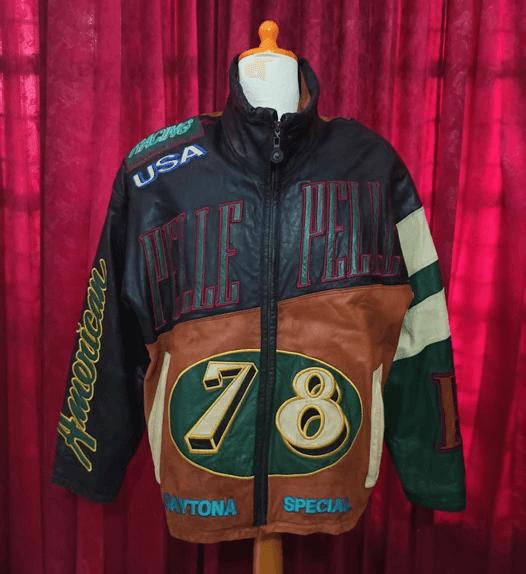 Multicolor Vintage Pelle Pelle USA Racing Leather Jacket