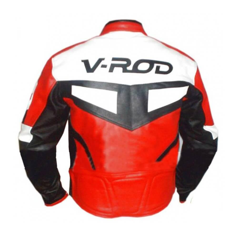 Orange V Rod Harley Davidson Motorcycle Leather Jacket