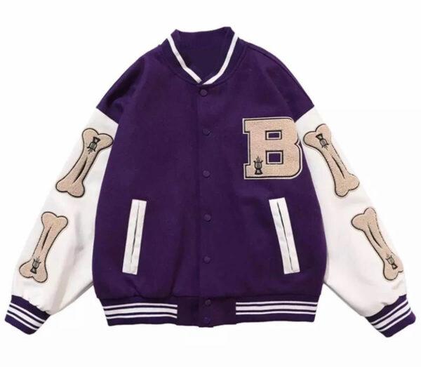 Purple Skeleton Bone Patch Varsity Jacket