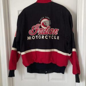 Black Red Indian Motorcycle Racing Varsity Jacket