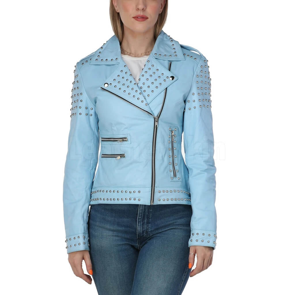 Sky Blue Studded Biker Leather Jacket