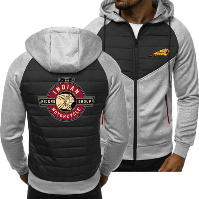 White Indian Motorcycle Spring Autumn Casual Jacket