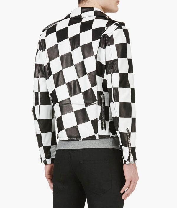 Checkered Black White Leather Biker Jacket