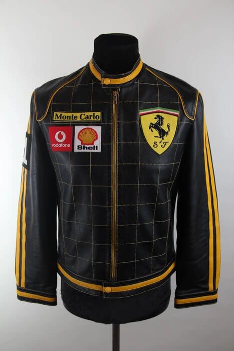 Black And Yellow Ferrari Motorcycle Leather Jacket