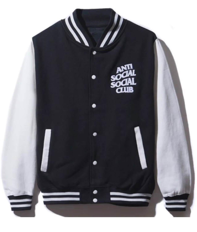 Black Anti Social Social Club Varsity Jacket